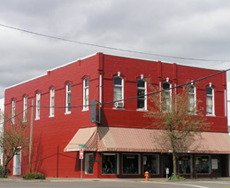 red building in downtown Corvallis, Oregon: photo by Sienna