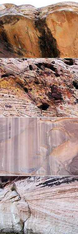 rock faces of Canyonlands -- photos by Sienna, 25 September 2004 (rock 14, rock 35, rock 29, rock 31)